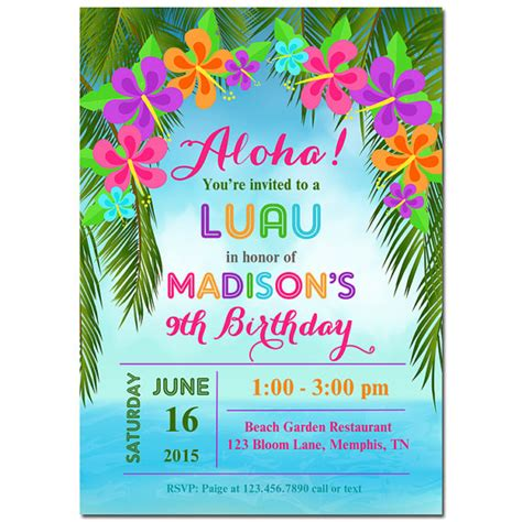 free printable hawaiian luau invitations luau invitation printable or printed with free shipping