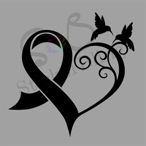 cancer ribbon heart hummingbird vinyl decal sticker truck