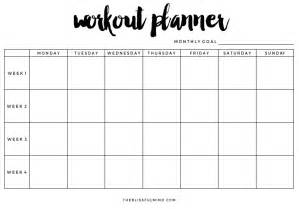 goals free workout planner printable www