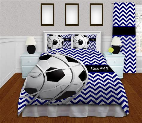 Queen Duvet Size Black White And Blue Soccer Bedding For Kids And Teens