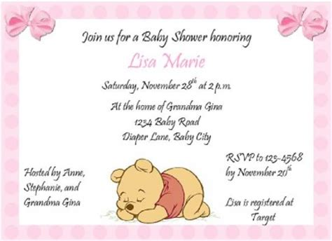 Personalized Winnie The Pooh Baby Shower Invitations by Personalized Baby Shower Invitation Winnie The Pooh