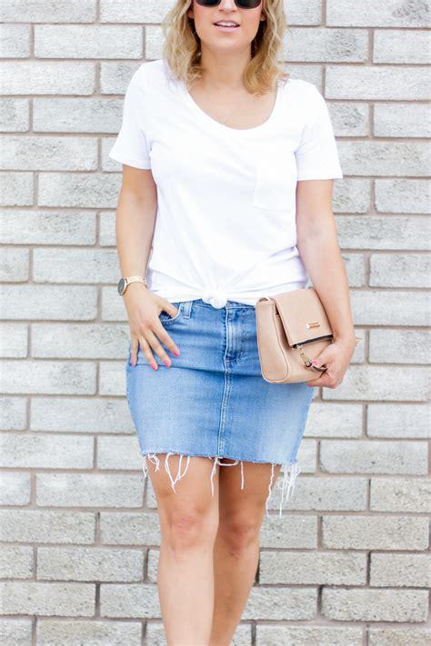 summer outfit idea   denim skirt