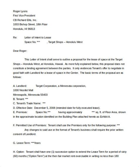 Letter Of Intent To Rent Exle 10 Real Estate Letter Of Intent Templates Free Sle