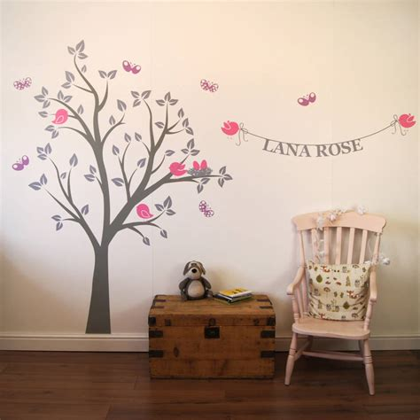 wall stickers for personalised bird s nest tree wall stickers by parkins interiors notonthehighstreet