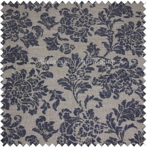 blue damask upholstery fabric natural beige blue damask pattern chenille upholstery