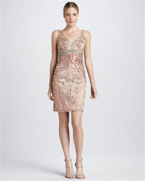 sue wong beaded cocktail dress with v back