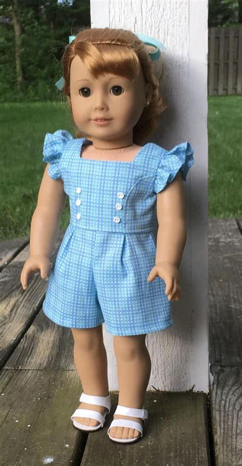 Ag Pant Meouw 18 quot doll blue and aqua gingham romper and aqua hair ribbon