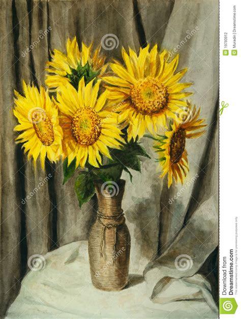girasoli in vaso vaso con i girasoli illustrazione di stock illustrazione