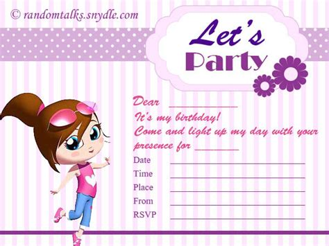 printable birthday party invitation cards birthday archives random talks