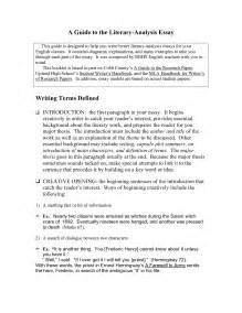 Exles Of Literary Analysis Essay by Help Writing A Critique Essay