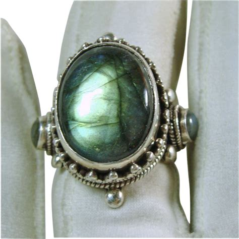 tibetan sterling silver and labradorite ring from