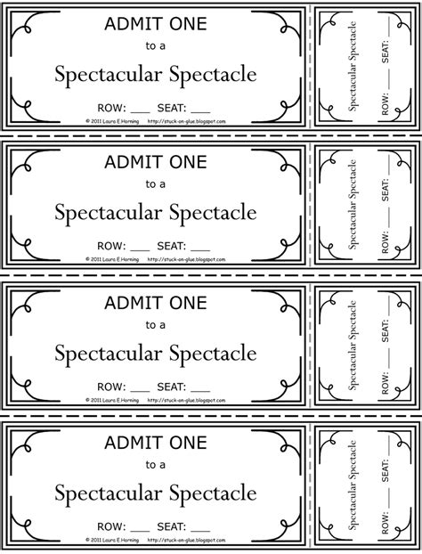 printable ticket template printable tickets for search results new calendar