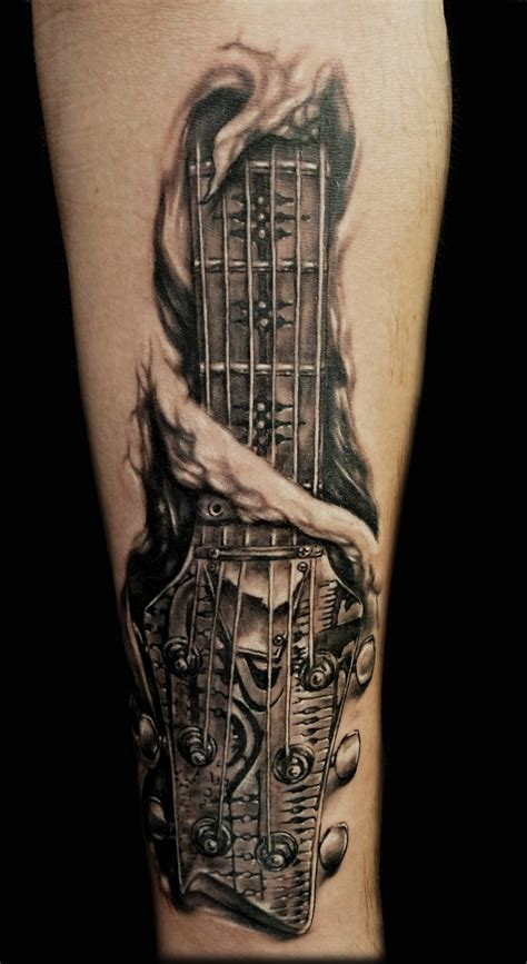 guitar neck tattoo designs giger style guitar tattoos