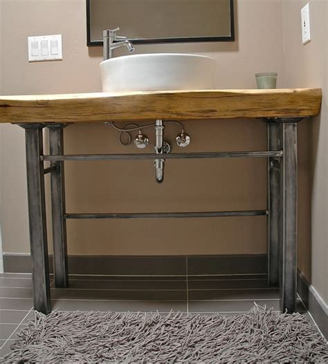 bathroom vanity metal legs wood and metal bathroom vanity home design ideas
