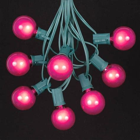 Pink G40 Globe Round Outdoor String Light Set On Green Pink String Lights