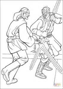 ausmalbild darth maul gegen qui gon