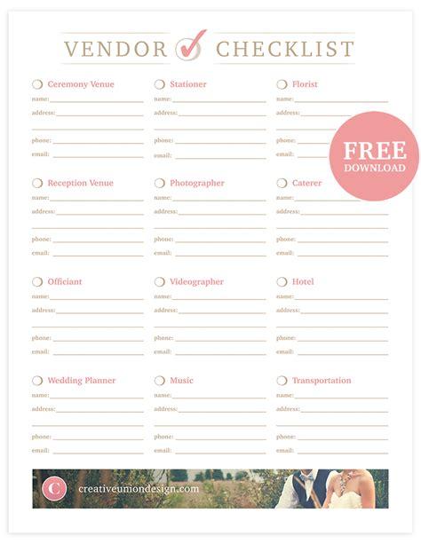 Wedding Vendor by Creative Union Free Wedding Vendor Checklist