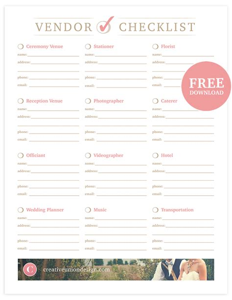 wedding vendors creative union free wedding vendor checklist