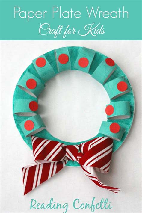 cardboard and paper plate wreath craft reading confetti