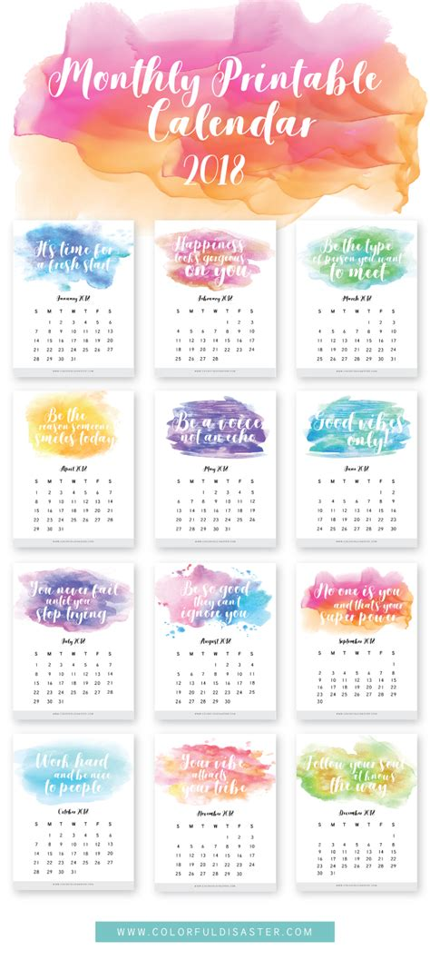 colourful printable monthly planner monthly printable calendar 2018 colorful disaster