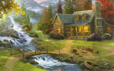 China Garden Swiss Cottage - art wallpaper set 1 thomas kinkade paintings 171 awesome wallpapers