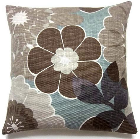 brown couch blue pillows decorative pillow covers brown gray taupe cadet blue
