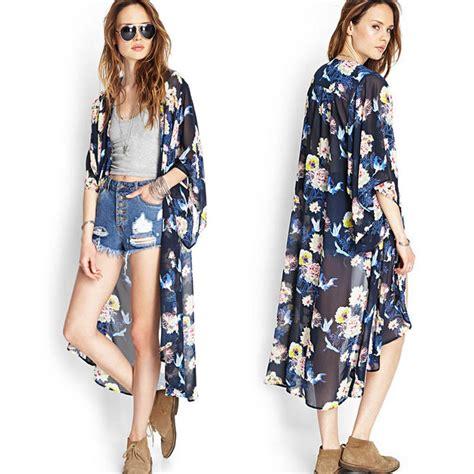 Coat Kimono Cardigan hq floral printed half sleeve chiffon kimono