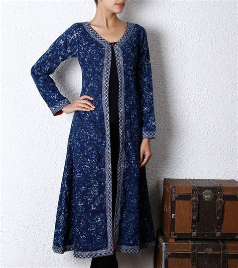 kurta pattern with net indigo cotton long kurti indo western clothing
