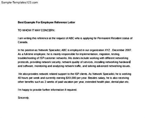 Recommendation Letter For Best Employee Best Exle For Employee Reference Letter Sle Templates