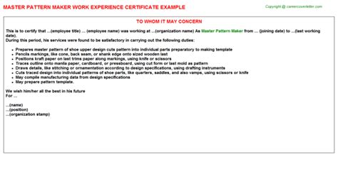 pattern making job description master pattern maker work experience certificate