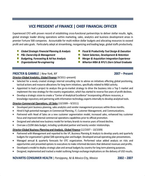 finance resume template sle finance resume template 7 free documents