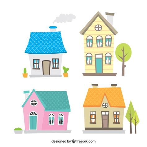 home design vector free download cute collection of hand drawn houses vector free download
