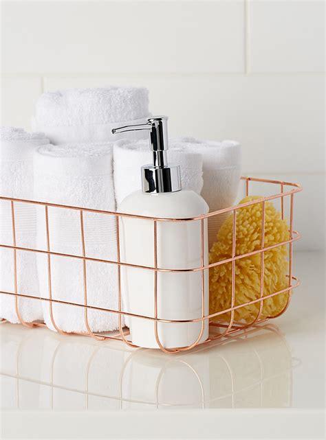 rose bathroom decor rose gold metal basket simons maison shop bathroom