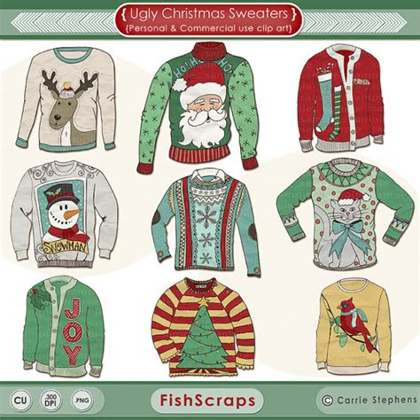 printable christmas jumper ugly sweater clipart christmas clipart digital graphics