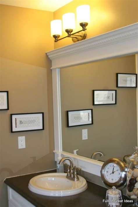 Trim Around Bathroom Mirror Diy Bathroom Mirror Upgrade Tutorial Use Mdf Trim And Crown Molding To Build A Frame Around