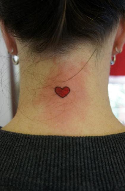 heartbeat tattoo back of neck heart tattoo in the neck