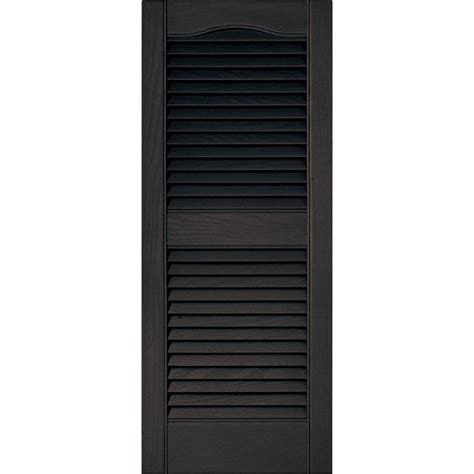 black shutter builders edge 15 in x 36 in louvered vinyl exterior