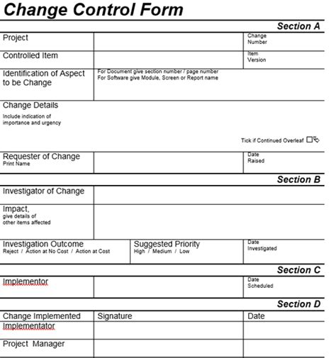 process change request form template change process tutorial