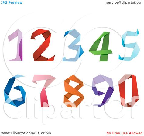 How To Make Origami Numbers - clipart of colorful origami numbers royalty free vector
