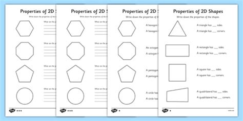 2d and 3d shapes ks2 worksheets year 2 properties of 2d shapes worksheet activity sheet pack