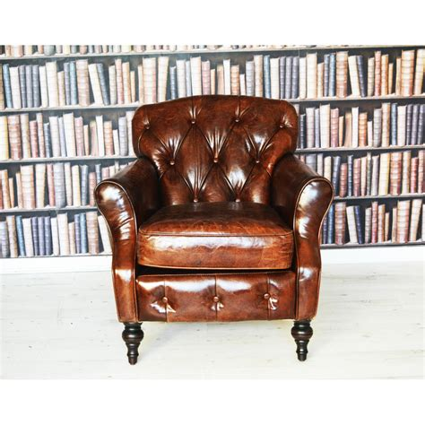 antique leather wingback chesterfield armchair by majeurs
