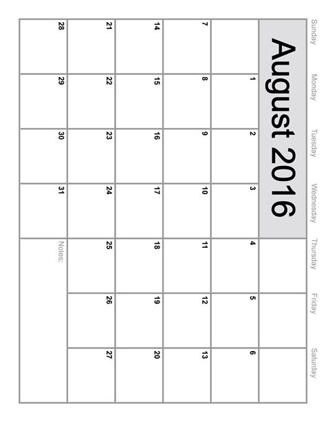 2016 monthly calendar template august 2016 calendar printable template 6 templates