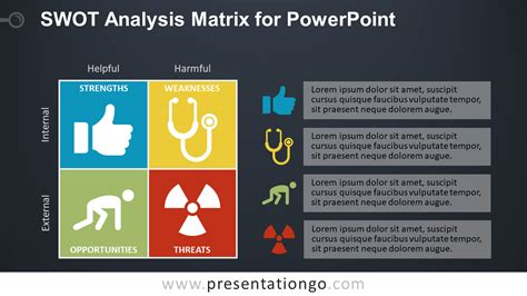 Swot Analysis Matrix For Powerpoint Presentationgo Com Matrix Powerpoint Template