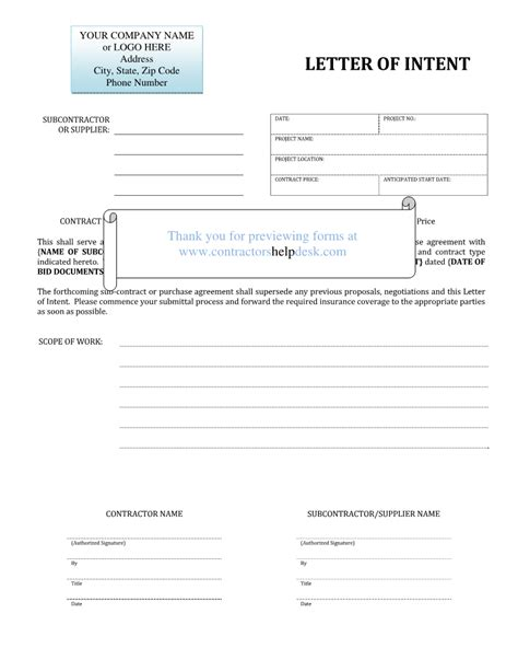How To Make A Letter Of Intent For Business Franchise Contractors Help Desk Forms