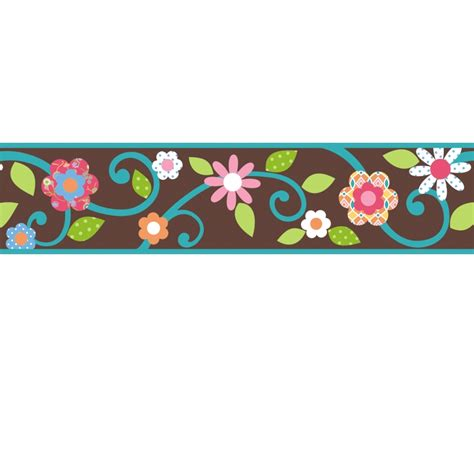 Wall Stickers Borders scroll floral wall sticker border brown teal stickers