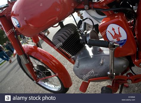 vintage maserati motorcycle the maserati badge on a vintage motorbike stock photo