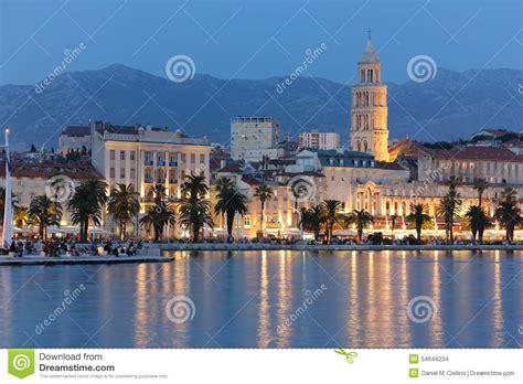 riva boats croatia riva promenade at night split croatia stock photo