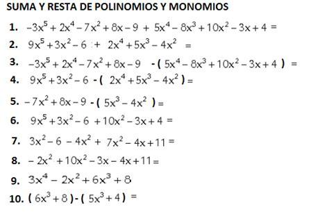 suma y resta de polinomios multiplicacin de polinomios y divisin 6 suma y resta de monomios y polinomios esc sec