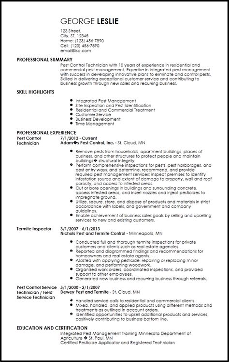 774 pest control resume examples installation and maintenance