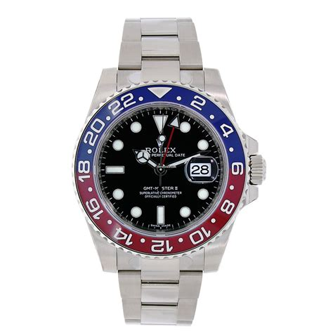 Jam Replika Rolex Gmt Master Ii Black Pepsi Swiss Eta 1 1 rolex gmt master ii 18k white gold blue pepsi bezel for 32 299 for sale from a trusted